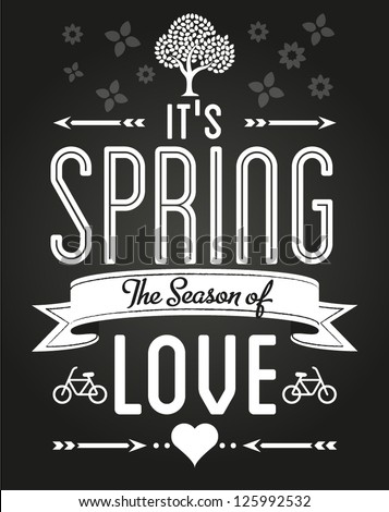 Spring Love Fun and Entertainment Greeting Card - stock vector