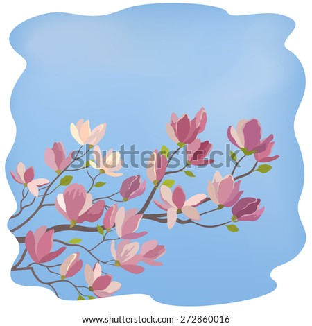 Spring Magnolia Tree Branch with Flowers and Green Leaves Against The Blue Sky. Vector - stock vector