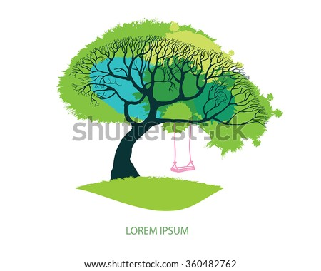 Spring meadow - big tree with fresh green leaves vector illustration. Hand drawn tree with pink swing on branch. Card design with stylized tree -  lawn and foliage as grunge watercolor blotch. - stock vector