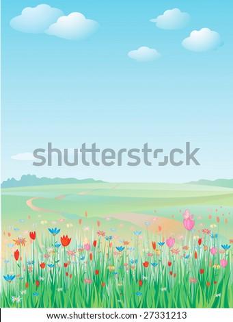 Spring meadow, vector. - stock vector