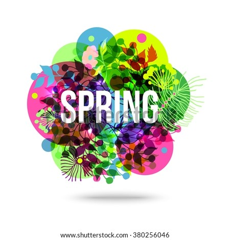 Spring Mood background with transparent circle. Vector eps10 format. - stock vector