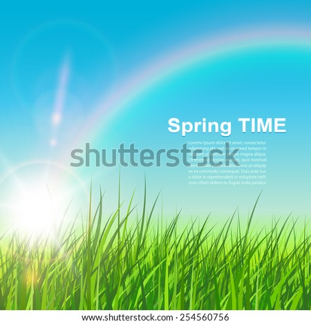 Spring natural background, sunny vector illustration. - stock vector