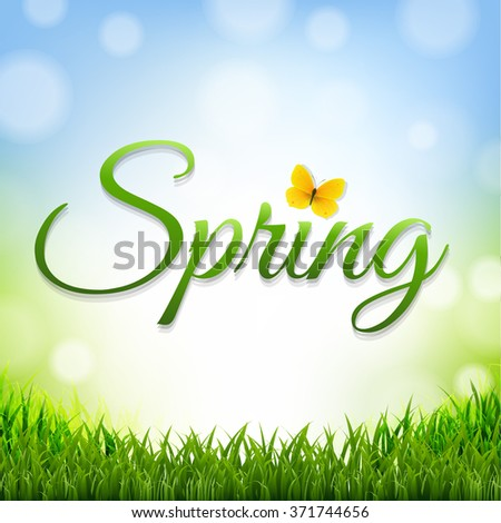 Spring Nature Background With Grass Border With Gradient Mesh, Vector Illustration - stock vector