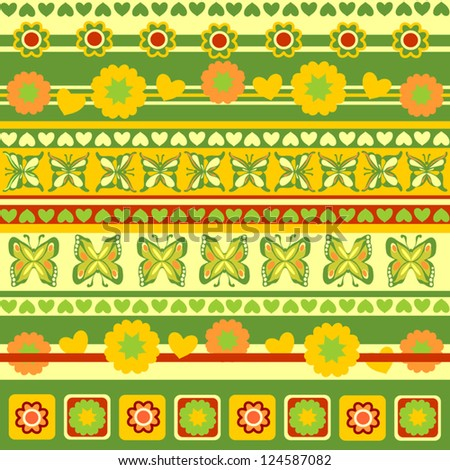 Spring Objects in Patterns, Scrapbook Ribbons of Flowers, Hearts, Butterflies, Vector Version - stock vector