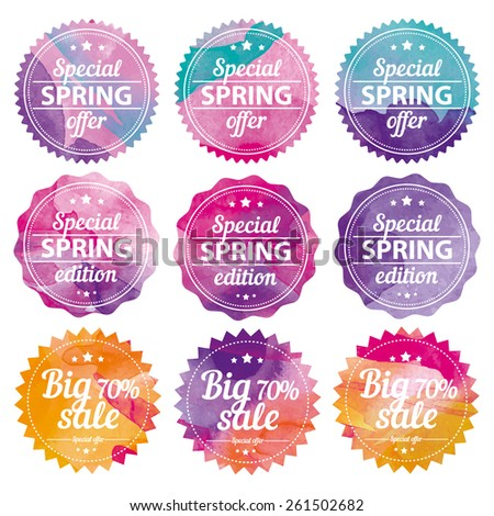 Spring offer stickers with watercolor background. Big sale. Vector Illustration. - stock vector