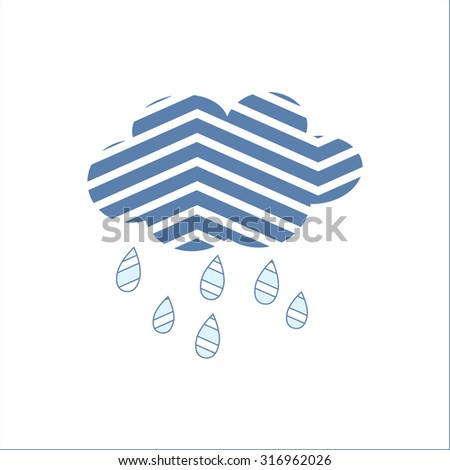 Spring or autumn rain cloud on a white background - stock vector