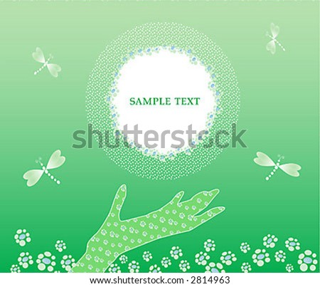 spring or summer background with the floral elements and place for the text - stock vector