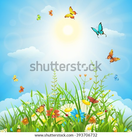 Spring or summer sunny landscape with green grass, flowers and butterflies - stock vector