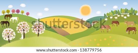 Spring panorama - stock vector
