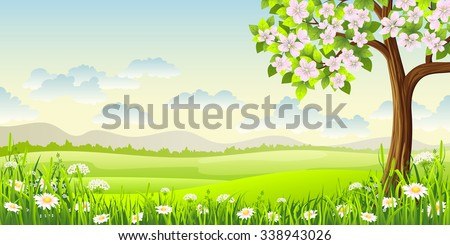 Spring panorama landscape with flowering tree and flowers