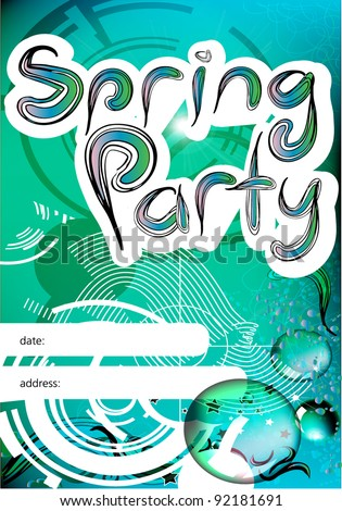 Spring party poster - stock vector