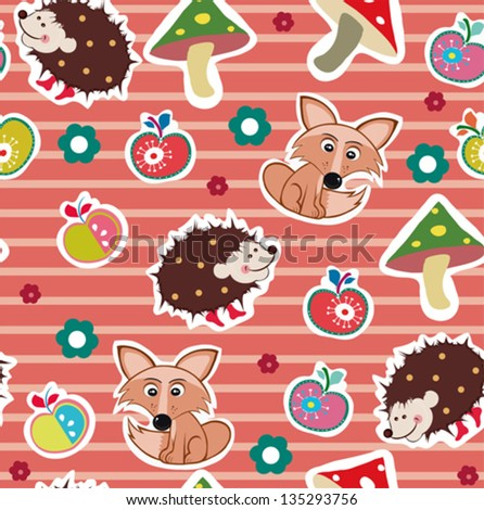 spring pattern of foxes and hedgehog - stock vector