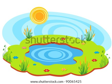 spring pond - stock vector