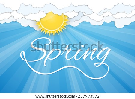 Spring postcard print template. Sun and white clouds over blue sky. Vector illustration - stock vector