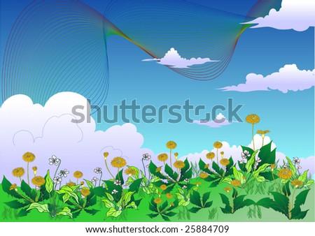 Spring Rainbow Meadow landscape of vector illustration - stock vector