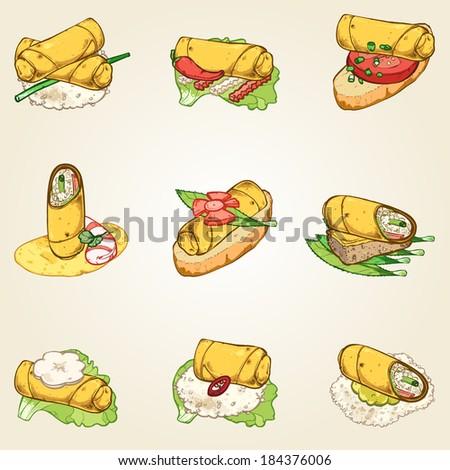 spring roll finger food set - stock vector