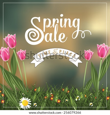 Spring sale advertising background template EPS 10 vector royalty free stock illustration for greeting card, ad, promotion, poster, flier, blog, article, ad, marketing, florist, retail shop, brochure - stock vector