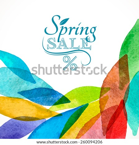 Spring sale background colorful rainbow watercolor for card invitation business design - stock vector