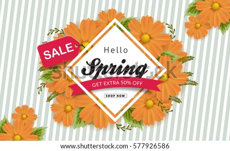 Spring sale background with beautiful colorful flower. Vector illustration.