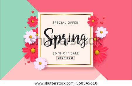 Spring sale background beautiful colorful flower stock photo photo spring sale background with beautiful colorful flower vector illustration templatennerswallpaper stopboris Images