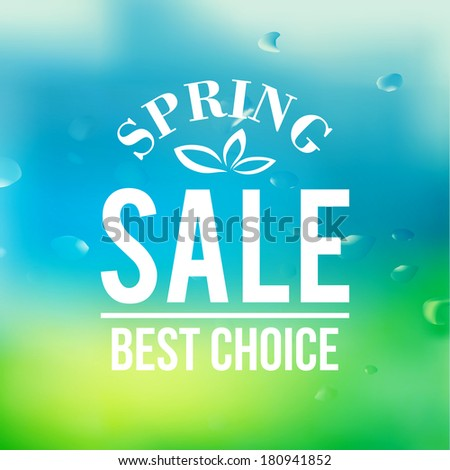 Spring sale background with text.  Vector illustration. - stock vector
