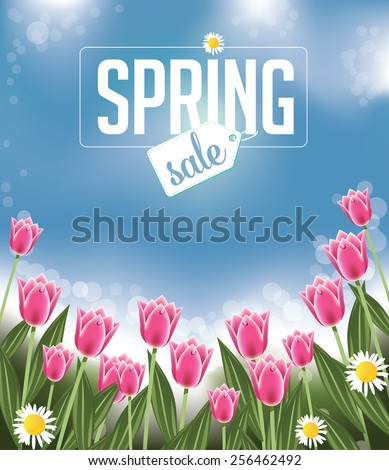 Spring sale Background with tulips and daisies EPS 10 vector royalty free stock illustration for greeting card, ad, promotion, poster, flier, blog, article, social media, marketing - stock vector