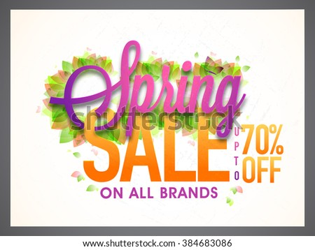 Spring Sale Banner, Sale Poster, Sale Flyer, Sale Vector. 70% Off, Sale Background. Big Sale, Super Sale, Special Offer on All Brands.Vector illustration. - stock vector