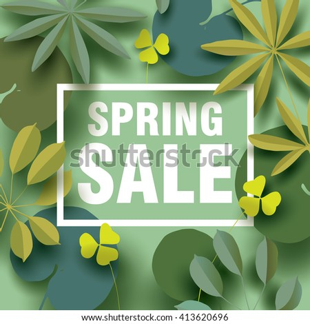 Spring sale card with different plant elements in shades of green. Design for Spring Sale Poster, Sale Banner, Sale Flyer. Vector illustration - stock vector