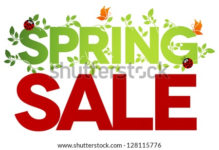 Spring sale design. Beautiful colorful illustration, green leaves, ladybugs and butterflies. Bold and bright. - stock vector
