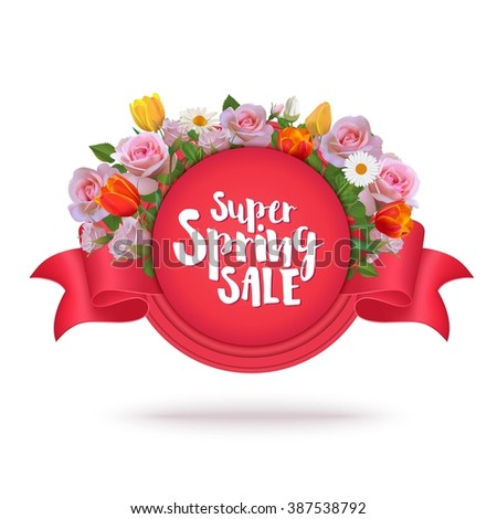 Spring Sale Label and Ribbon with Roses, Tulips, Chamomiles. Floral Design Elements. Place for Text. Sale Vector Illustration with Flowers. - stock vector