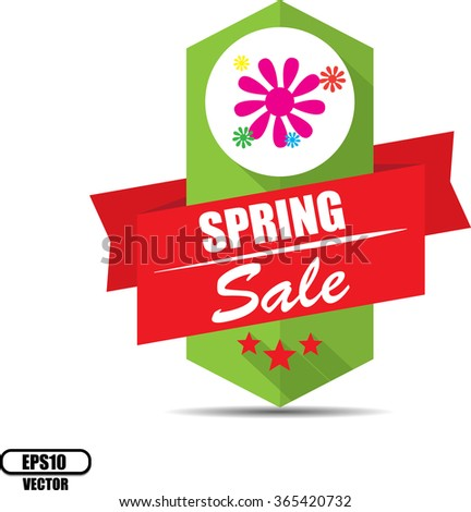 Spring sale label and sign - Vector illustration - stock vector