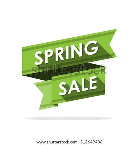 Spring sale. Label ribbon design.