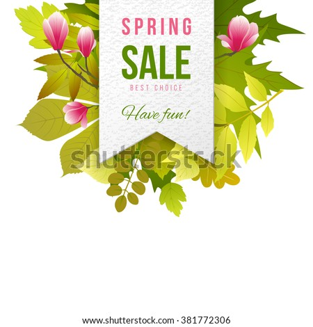 Spring sale paper emblem with leaves and flowers - stock vector