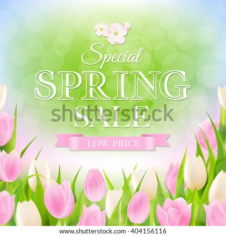 Spring Sale Poster With Gradient Mesh, Vector Illustration - stock vector