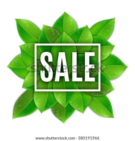 Spring Sale Poster With Green Leaf.  vector spring sale banner. Summer And Spring Sale Template Vector Illustration - stock vector