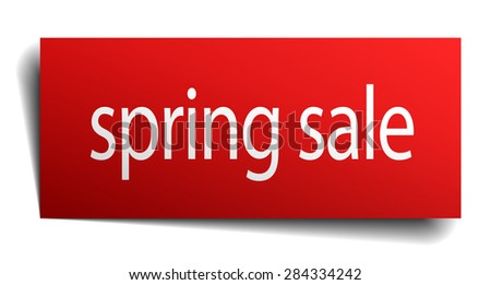 spring sale red paper sign isolated on white