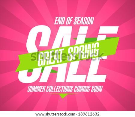 Spring sale vintage design template. - stock vector