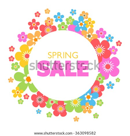 Spring sales background with flowers. Can also be used as a decorative card. - stock vector