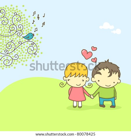 Spring scene with cute couple in love and bird singing. - stock vector