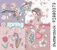 spring scrapbook set - stock vector