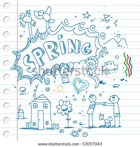 Spring scribbles - stock vector
