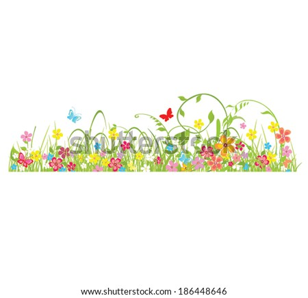 Spring seamless border - stock vector