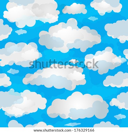 Spring seamless pattern with blue sky and white translucent clouds