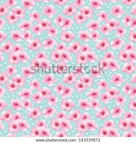 Spring seamless pattern with pink blossom flowers on a blue background - stock vector