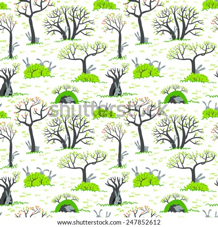 Spring seamless pattern with rabbits - stock vector