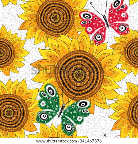 Spring seamless pattern with sunflowers and red and green butterflies, vector eps10 - stock vector