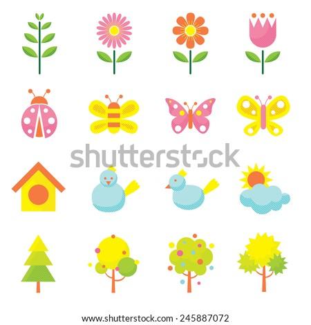 Spring Season Object Icons Set - stock vector