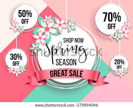 Spring season sale offer, banner template. Pink ribbon with lettering, isolated on pink background with roses. Feminine sale tag. Shop market poster design. Vector illustration. Elegant luxury design