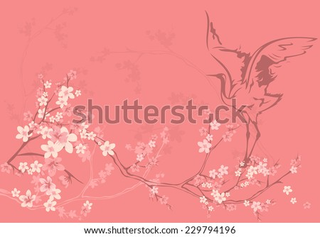 spring season vector background with crane bird among sakura tree flowers - stock vector