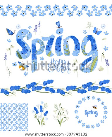 Spring set. Phrase made of flowers, isolated floral objects, text happy easter, painted eggs, round frame, seamless pattern brush. Objects for your design, festive greeting cards,  posters. - stock vector